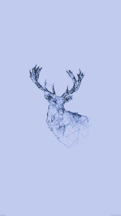 papers.co-ad30-deer-animal-illust-blue-33-iphone6-wallpaper