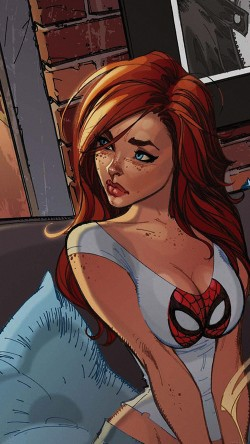 papers.co-af39-spiderman-mary-jane-angry-illustration-cartoon-33-iphone6-wallpaper