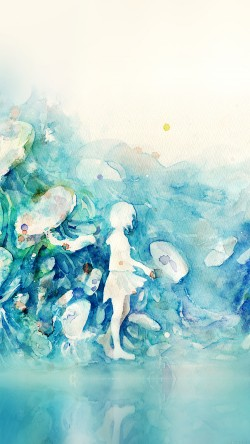 papers.co-ai06-watercolor-blue-girl-nature-art-illust-33-iphone6-wallpaper