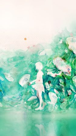 papers.co-ai07-watercolor-green-girl-nature-art-illust-33-iphone6-wallpaper
