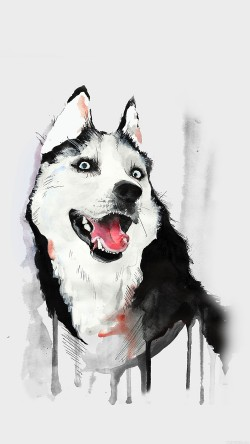 papers.co-ai25-happy-dog-husky-animal-illust-watercolor-33-iphone6-wallpaper