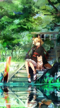 papers.co-aj46-girl-and-dog-green-anime-art-illust-33-iphone6-wallpaper