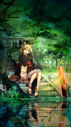 papers.co-aj47-girl-and-dog-green-nature-anime-art-illust-33-iphone6-wallpaper