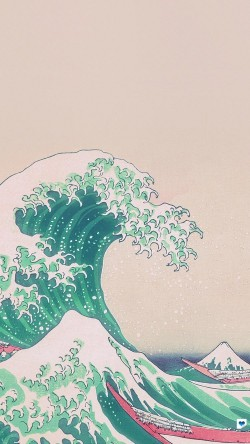 papers.co-an26-wave-art-hokusai-japanese-green-illust-classic-33-iphone6-wallpaper