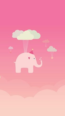 papers.co-ap45-cute-elephant-illustration-art-orange-fly-33-iphone6-wallpaper