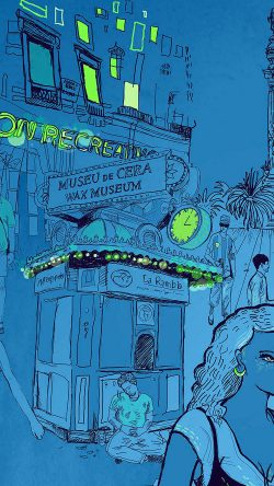 papers.co-aq24-wax-museum-art-illustration-blue-street-33-iphone6-wallpaper