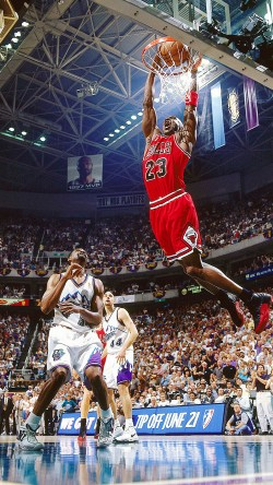 Michael Jordan attempts a dunk