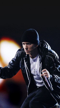 Eminem performs at the 52nd annual Grammy Awards in Los Angeles