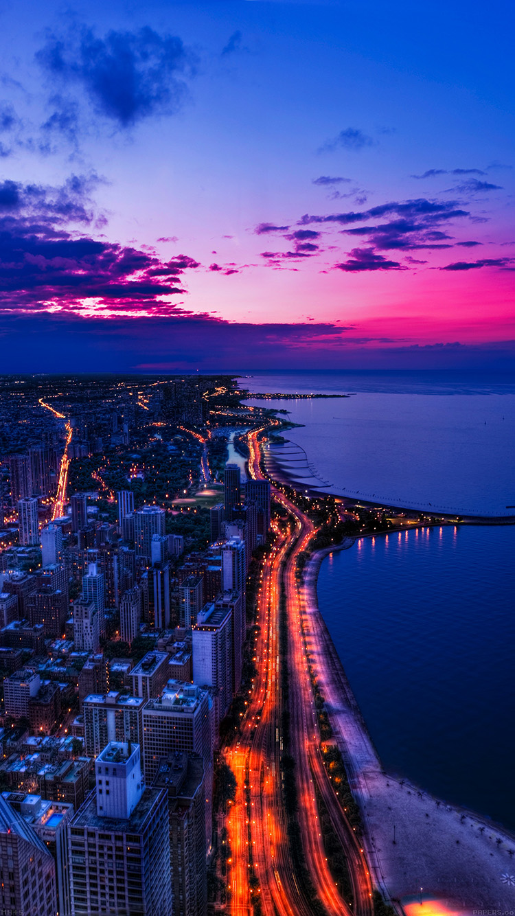 Mh45 Chicago City Night Sky View Scape Ocean Beach