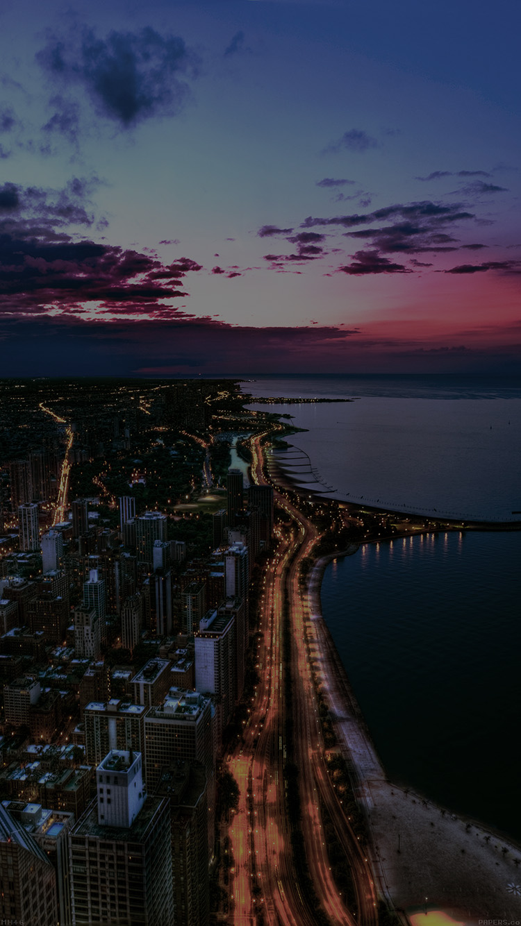 Iphone6papers Mh46 Chicago City Night Sky View Scape Dark Ocean Beach