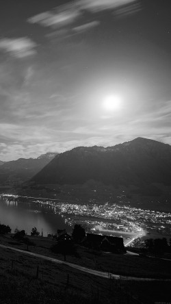 papers.co-mk93-lake-mountain-dark-bw-city-village-night-light-nature-33-iphone6-wallpaper