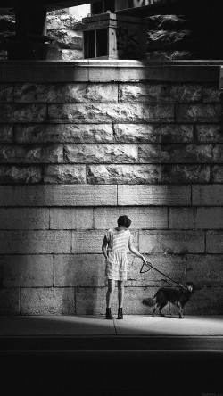 papers.co-mn90-woman-dog-street-dark-bw-matthew-wiebe-33-iphone6-wallpaper