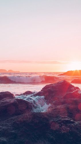 nf17-sea-ocean-nature-sunset-rock-wave-blue-red