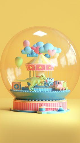bg82-toy-dinosaur-yellow-art-digital-cute